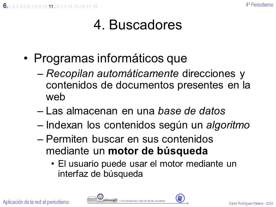 4º Periodismo Aplicación de la red al periodismo David Rodríguez Mateos - 2004 4.