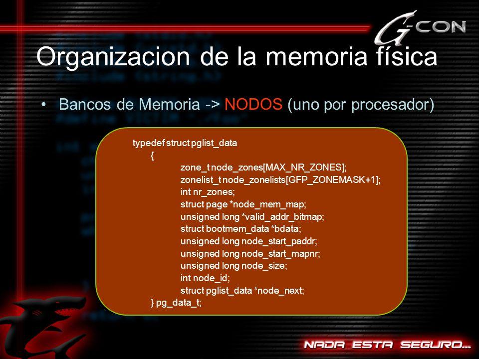 Organizacion de la memoria física Bancos de Memoria -> NODOS (uno por procesador) typedef struct pglist_data { zone_t node_zones[MAX_NR_ZONES]; zonelist_t node_zonelists[GFP_ZONEMASK+1]; int nr_zones; struct page *node_mem_map; unsigned long *valid_addr_bitmap; struct bootmem_data *bdata; unsigned long node_start_paddr; unsigned long node_start_mapnr; unsigned long node_size; int node_id; struct pglist_data *node_next; } pg_data_t;