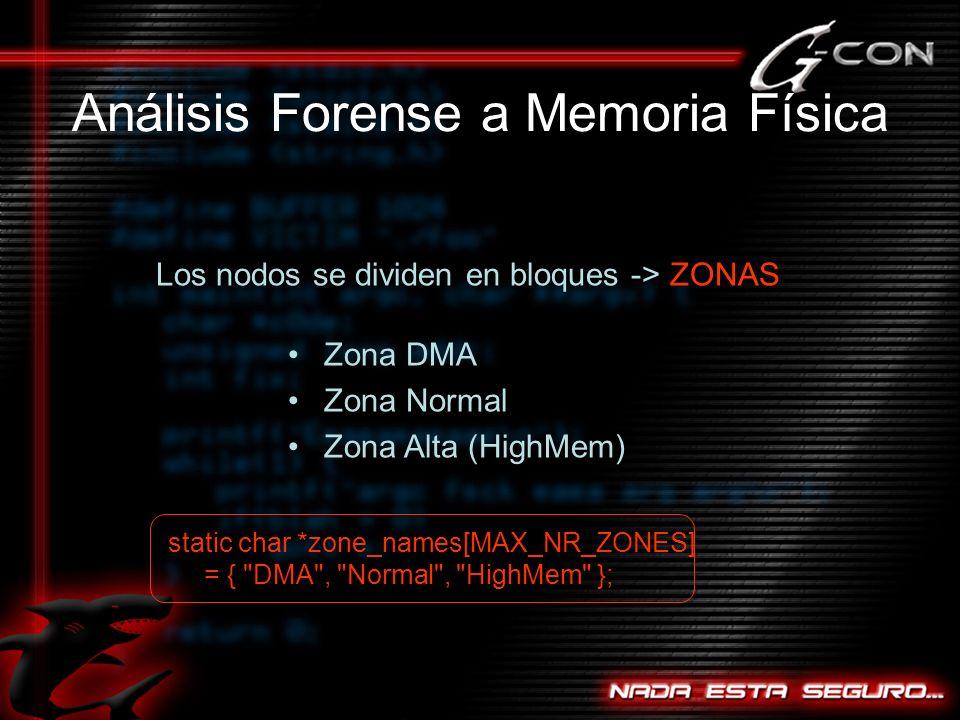 Análisis Forense a Memoria Física Los nodos se dividen en bloques -> ZONAS Zona DMA Zona Normal Zona Alta (HighMem) static char *zone_names[MAX_NR_ZONES] = { DMA , Normal , HighMem };