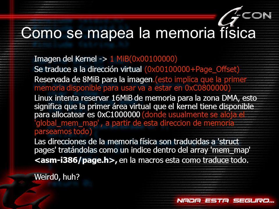 Imagen del Kernel -> 1 MiB(0x00100000) Se traduce a la dirección virtual (0x00100000+Page_Offset) Reservada de 8MiB para la imagen.(esto implica que la primer memoria disponible para usar va a estar en 0xC0800000) Linux intenta reservar 16MiB de memoria para la zona DMA, esto significa que la primer área virtual que el kernel tiene disponible para allocatear es 0xC1000000 (donde usualmente se aloja el global_mem_map , a partir de esta direccion de memoria parseamos todo) Las direcciones de la memoria física son traducidas a struct pages tratándolas como un indice dentro del array mem_map , en la macros esta como traduce todo.