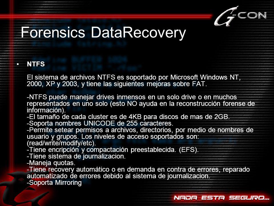 NTFS El sistema de archivos NTFS es soportado por Microsoft Windows NT, 2000, XP y 2003, y tiene las siguientes mejoras sobre FAT.