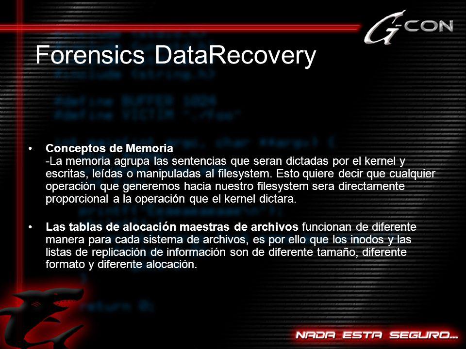 Conceptos de Memoria -La memoria agrupa las sentencias que seran dictadas por el kernel y escritas, leídas o manipuladas al filesystem.