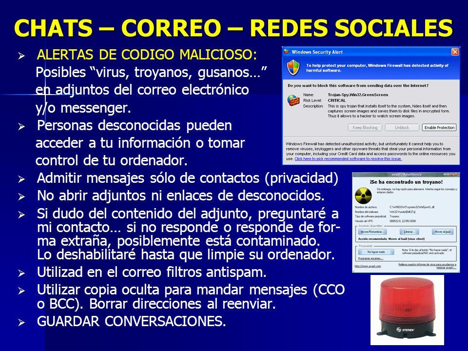 10 CHATS – CORREO – REDES SOCIALES ALERTAS DE CODIGO MALICIOSO: Posibles virus, troyanos, gusanos… en adjuntos del correo electrónico y/o messenger.