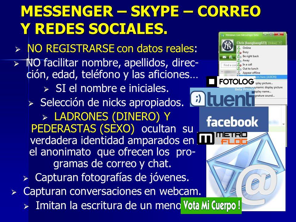 3 MESSENGER – SKYPE – CORREO Y REDES SOCIALES.