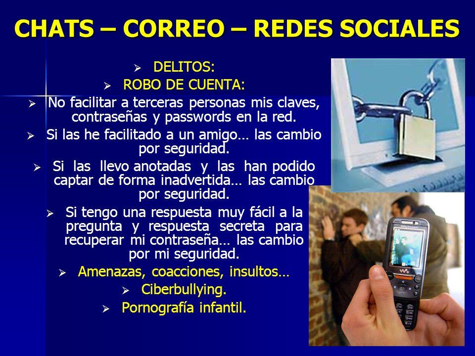 7 CHATS – CORREO – REDES SOCIALES DELITOS: ROBO DE CUENTA: No facilitar a terceras personas mis claves, contraseñas y passwords en la red.
