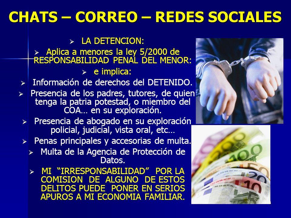 8 CHATS – CORREO – REDES SOCIALES LA DETENCION: Aplica a menores la ley 5/2000 de RESPONSABILIDAD PENAL DEL MENOR: e implica: Información de derechos del DETENIDO.