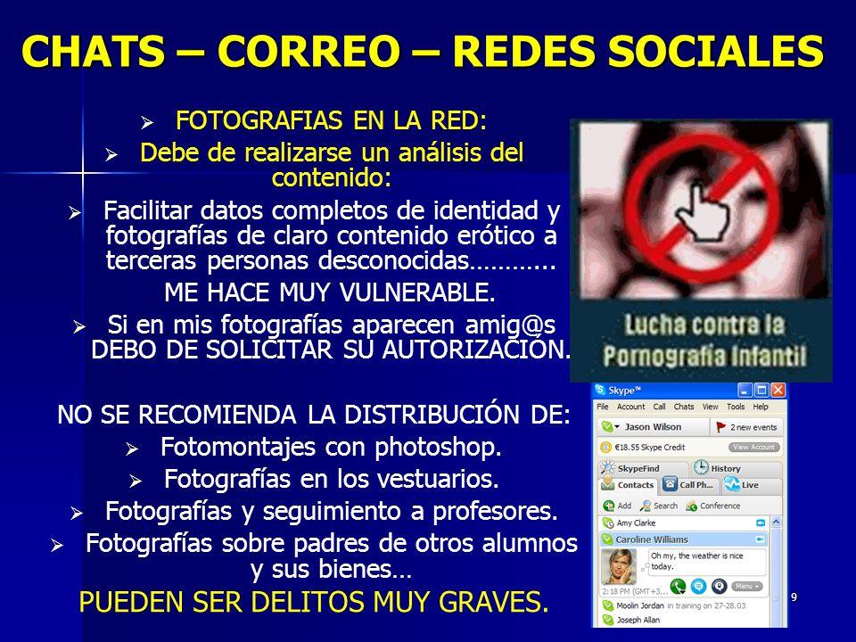 9 CHATS – CORREO – REDES SOCIALES CHATS – CORREO – REDES SOCIALES FOTOGRAFIAS EN LA RED: Debe de realizarse un análisis del contenido: Facilitar datos completos de identidad y fotografías de claro contenido erótico a terceras personas desconocidas………...