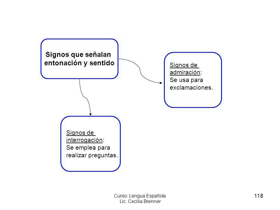 118 Curso: Lengua Española Lic. Cecilia Brenner Signos de interrogación: Se emplea para realizar preguntas. Signos de admiración: Se usa para exclamac
