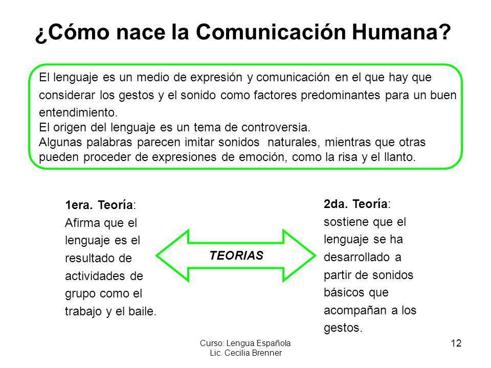 12 Curso: Lengua Española Lic. Cecilia Brenner ¿Cómo nace la Comunicación Humana? El lenguaje es un medio de expresión y comunicación en el que hay qu