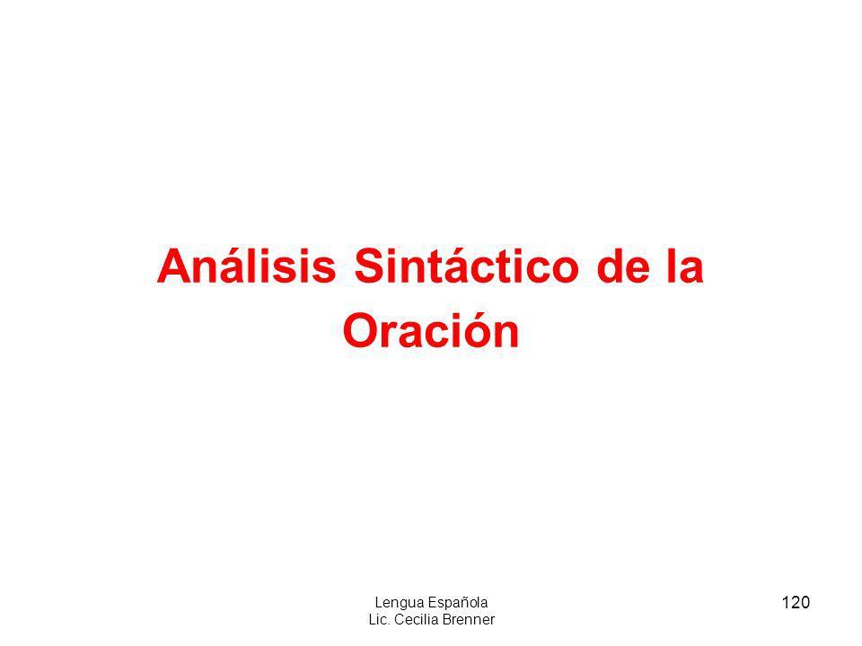 120 Lengua Española Lic. Cecilia Brenner Análisis Sintáctico de la Oración