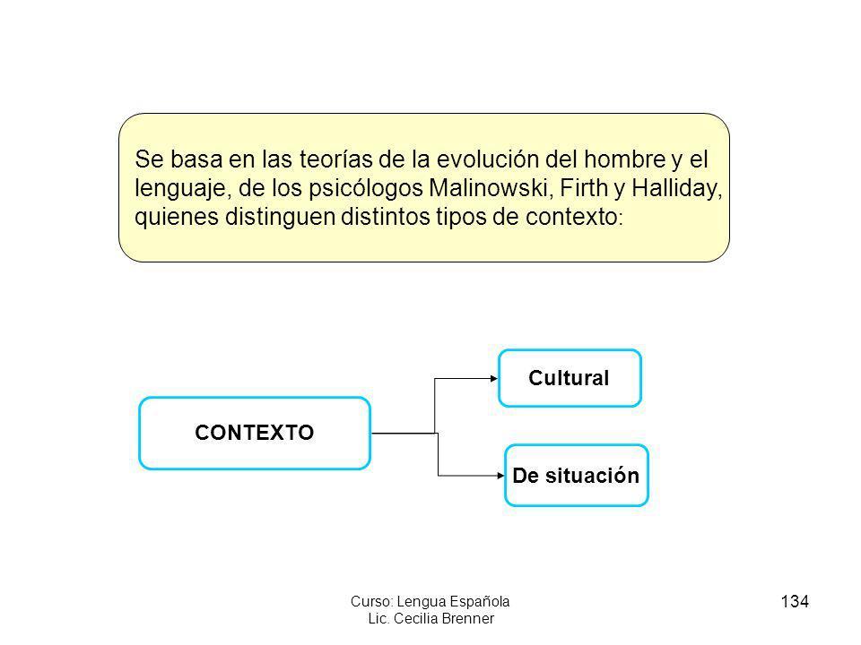 134 Curso: Lengua Española Lic. Cecilia Brenner CONTEXTO Cultural De situación Se basa en las teorías de la evolución del hombre y el lenguaje, de los
