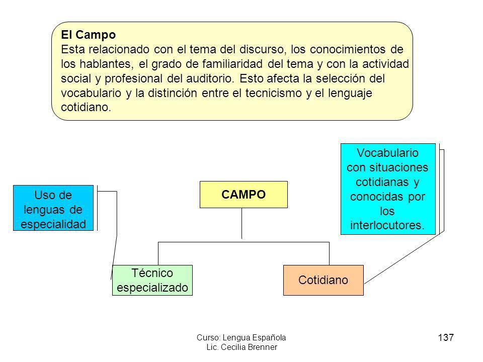 137 Curso: Lengua Española Lic. Cecilia Brenner CAMPO Técnico especializado Cotidiano Uso de lenguas de especialidad Vocabulario con situaciones cotid