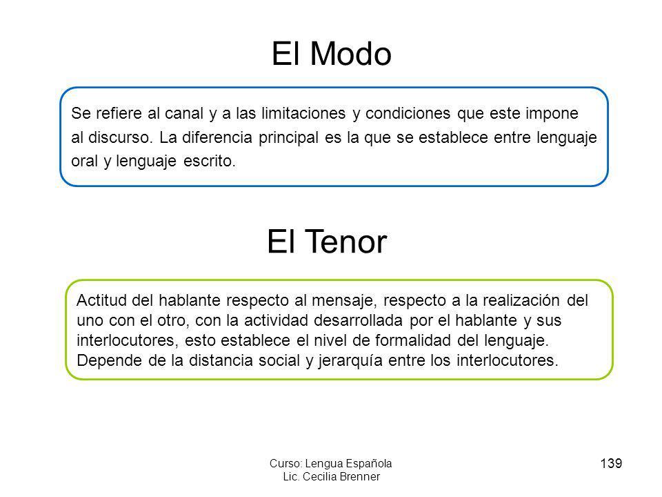 139 Curso: Lengua Española Lic. Cecilia Brenner El Modo Se refiere al canal y a las limitaciones y condiciones que este impone al discurso. La diferen