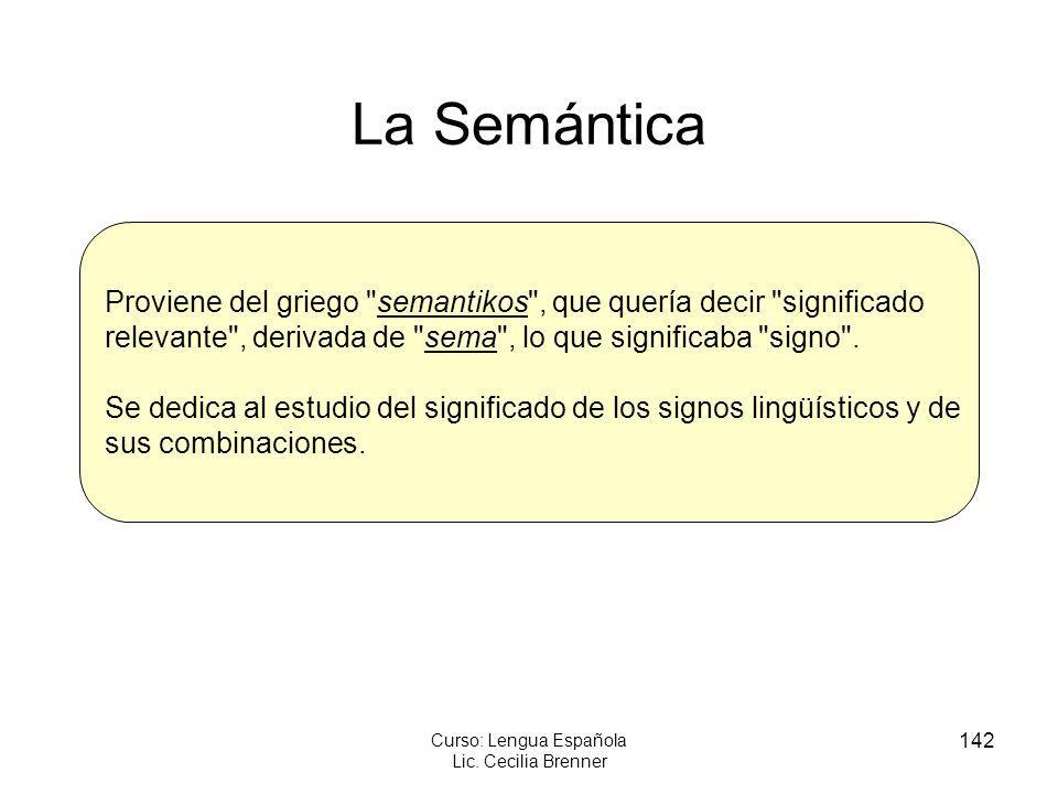 142 Curso: Lengua Española Lic. Cecilia Brenner La Semántica Proviene del griego