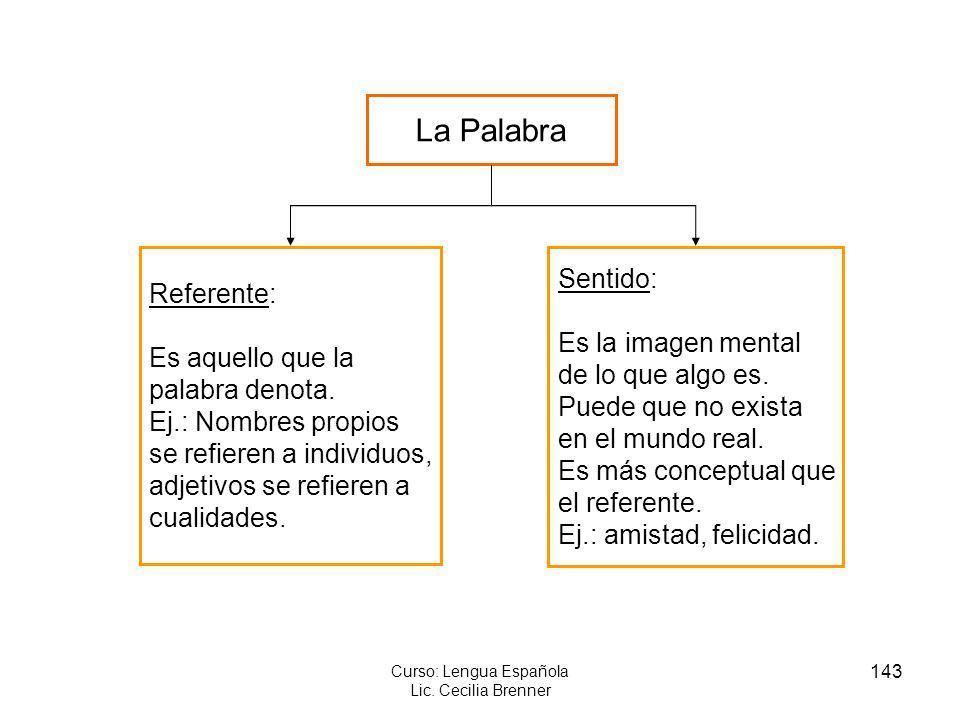 143 Curso: Lengua Española Lic. Cecilia Brenner La Palabra Referente: Es aquello que la palabra denota. Ej.: Nombres propios se refieren a individuos,