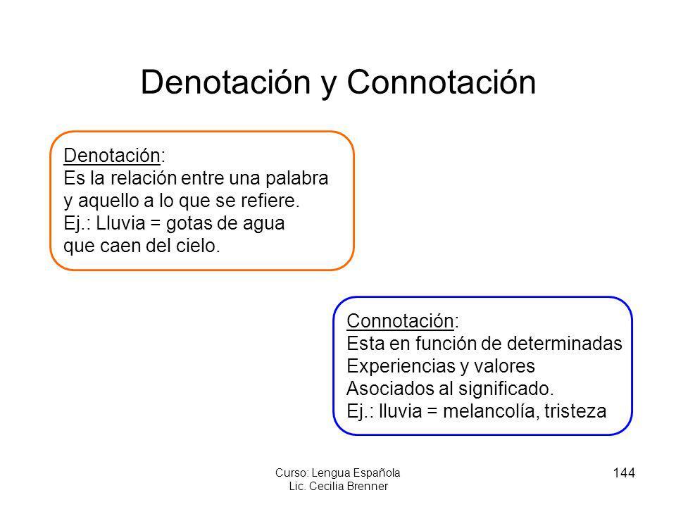 144 Curso: Lengua Española Lic. Cecilia Brenner Denotación y Connotación Denotación: Es la relación entre una palabra y aquello a lo que se refiere. E