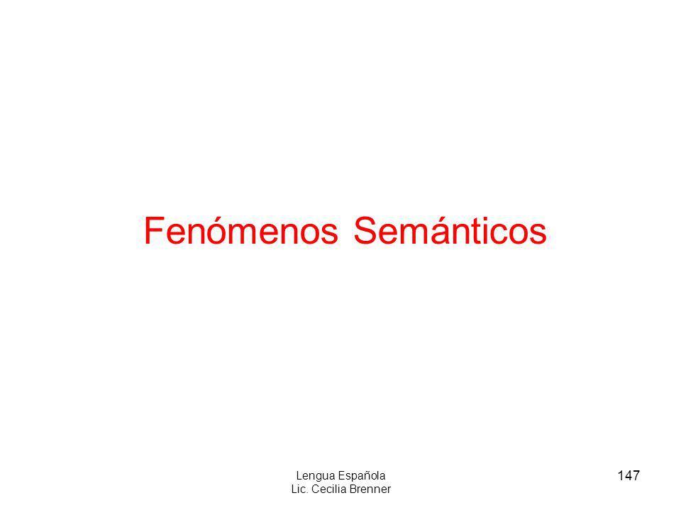 147 Lengua Española Lic. Cecilia Brenner Fenómenos Semánticos