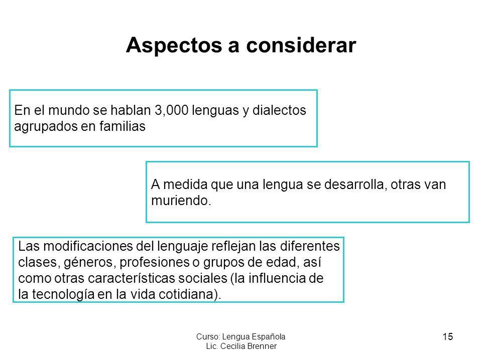 15 Curso: Lengua Española Lic. Cecilia Brenner Aspectos a considerar En el mundo se hablan 3,000 lenguas y dialectos agrupados en familias A medida qu