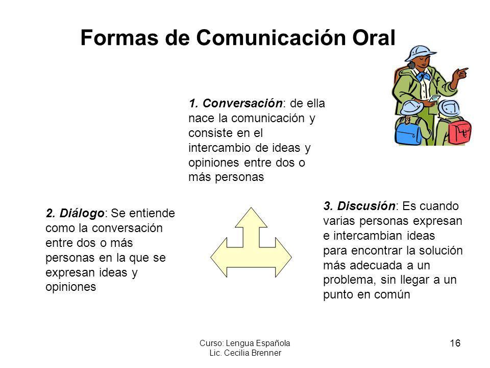 16 Curso: Lengua Española Lic. Cecilia Brenner Formas de Comunicación Oral 1. Conversación: de ella nace la comunicación y consiste en el intercambio