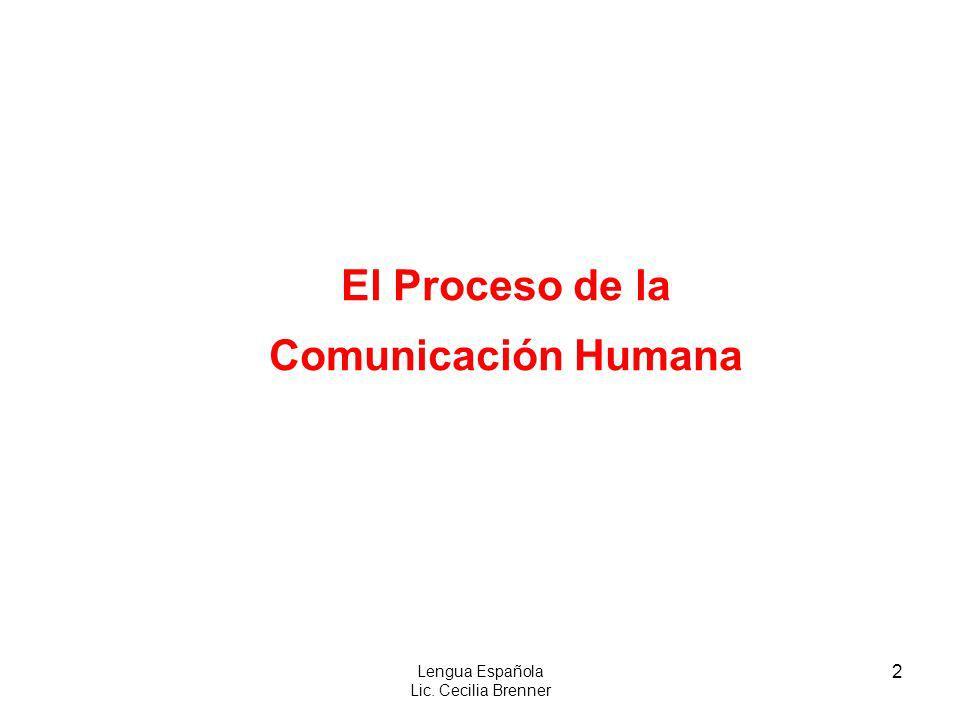 2 Lengua Española Lic. Cecilia Brenner El Proceso de la Comunicación Humana