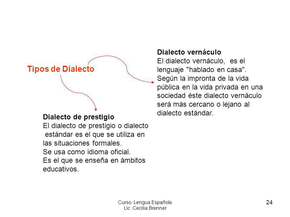 24 Curso: Lengua Española Lic. Cecilia Brenner Tipos de Dialecto Dialecto de prestigio El dialecto de prestigio o dialecto estándar es el que se utili