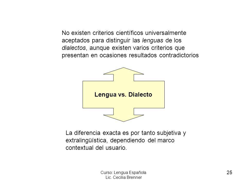 25 Curso: Lengua Española Lic. Cecilia Brenner Lengua vs. Dialecto No existen criterios científicos universalmente aceptados para distinguir las lengu