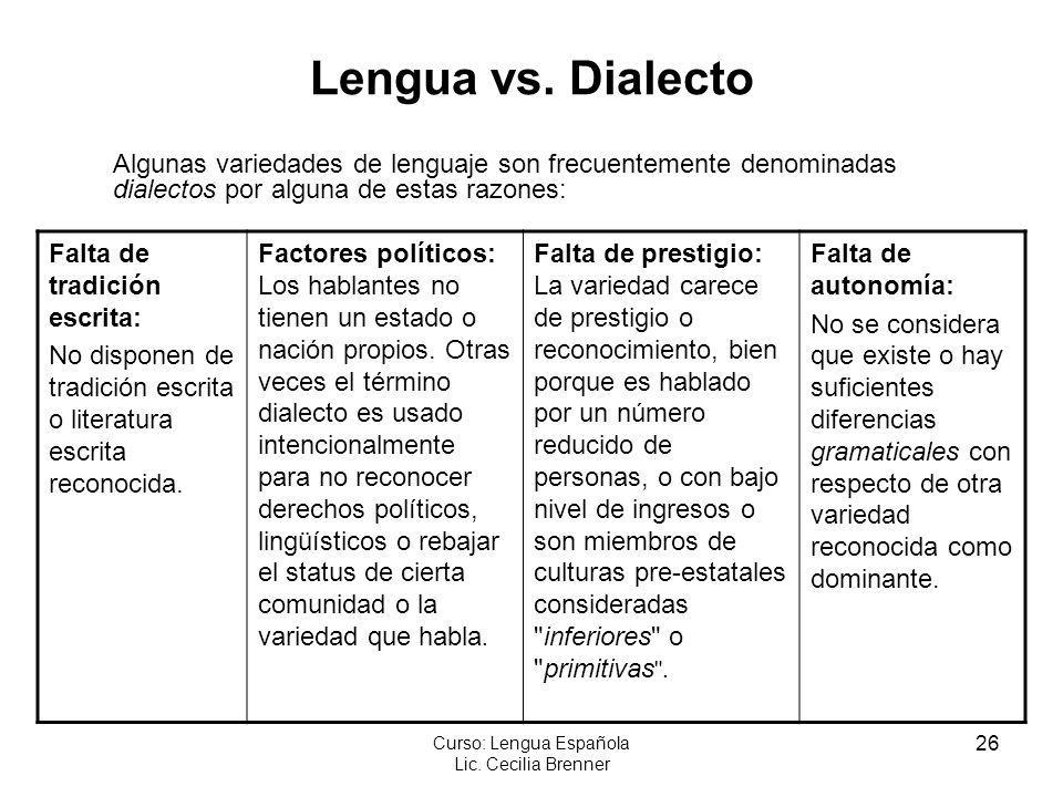 26 Curso: Lengua Española Lic. Cecilia Brenner Lengua vs. Dialecto Algunas variedades de lenguaje son frecuentemente denominadas dialectos por alguna