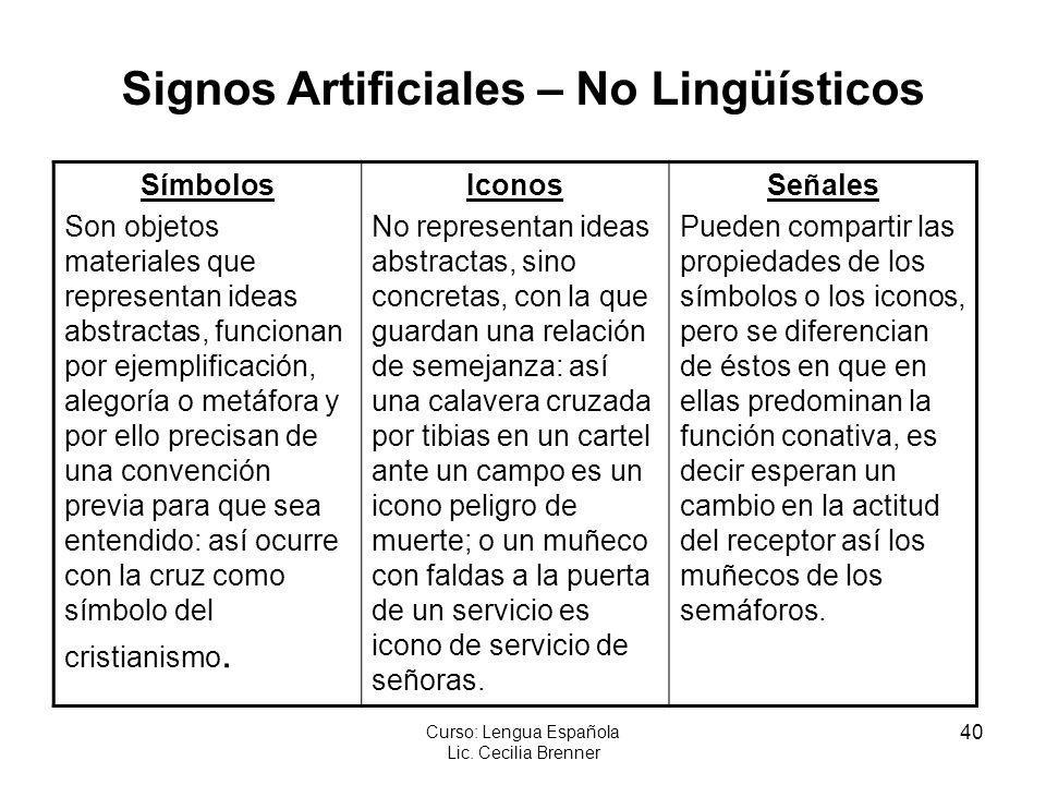 40 Curso: Lengua Española Lic. Cecilia Brenner Símbolos Son objetos materiales que representan ideas abstractas, funcionan por ejemplificación, alegor