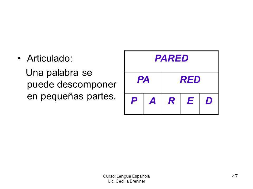 47 Curso: Lengua Española Lic. Cecilia Brenner Articulado: Una palabra se puede descomponer en pequeñas partes. PARED PARED PARED