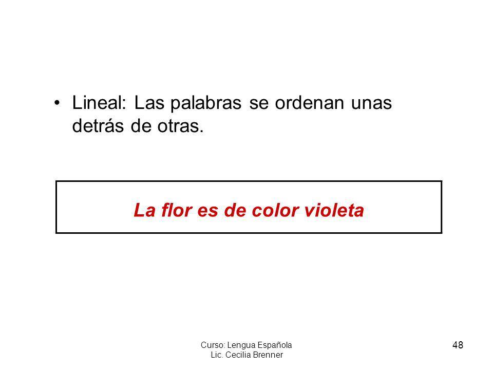 48 Curso: Lengua Española Lic. Cecilia Brenner Lineal: Las palabras se ordenan unas detrás de otras. La flor es de color violeta