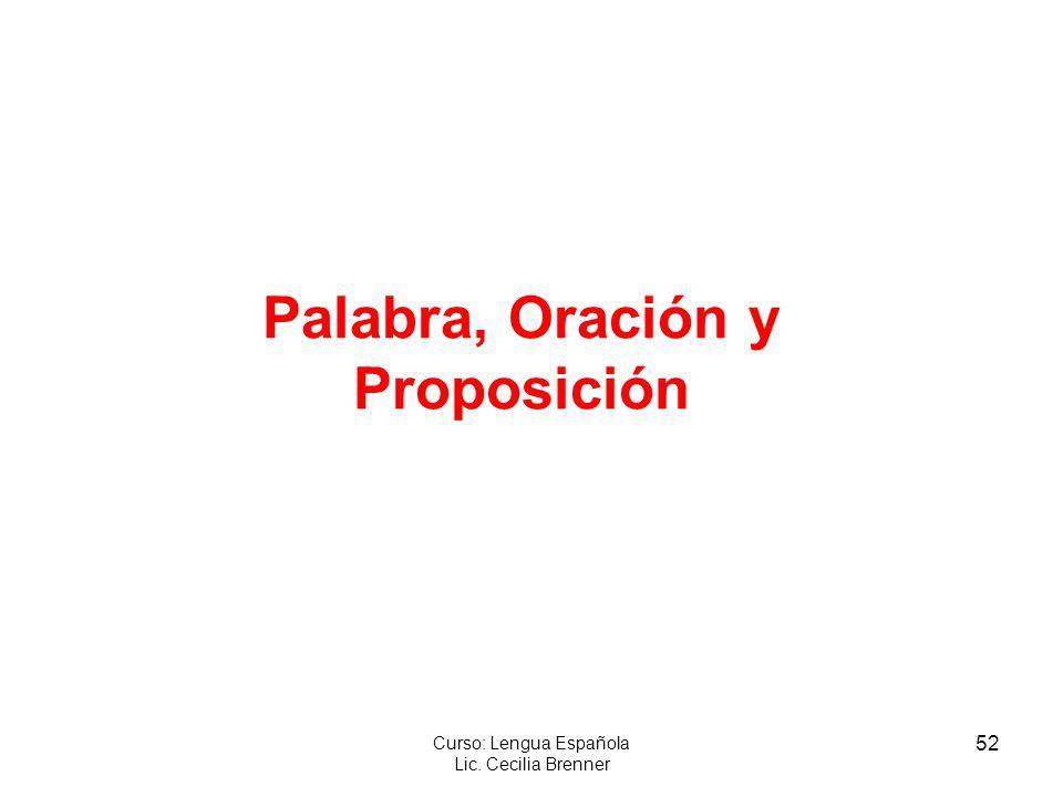 52 Curso: Lengua Española Lic. Cecilia Brenner Palabra, Oración y Proposición