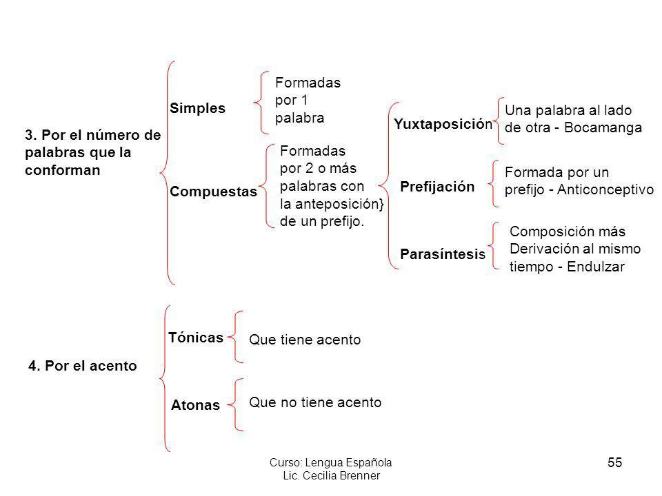 55 Curso: Lengua Española Lic. Cecilia Brenner 3. Por el número de palabras que la conforman 4. Por el acento Simples Compuestas Prefijación Parasínte