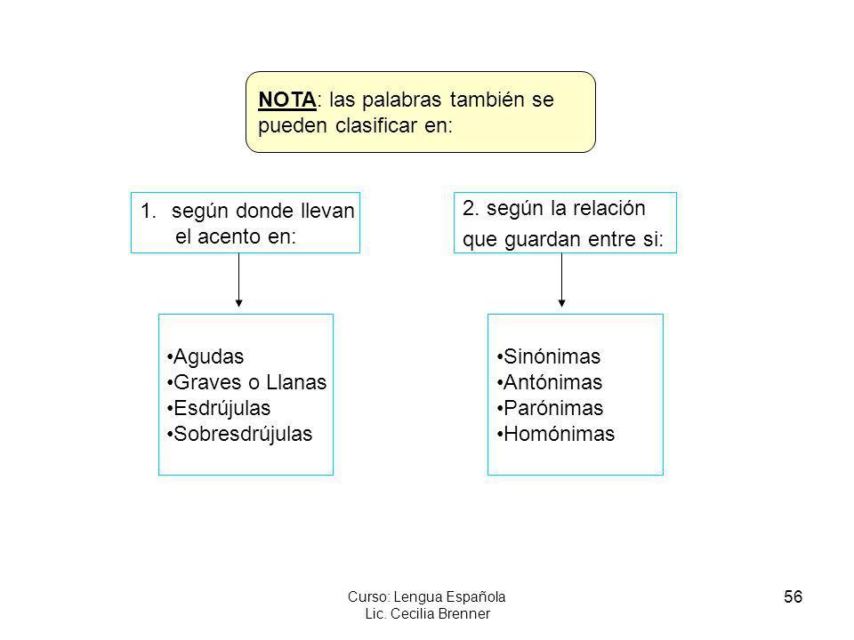 56 Curso: Lengua Española Lic. Cecilia Brenner NOTA: las palabras también se pueden clasificar en: 1.según donde llevan el acento en: 2. según la rela