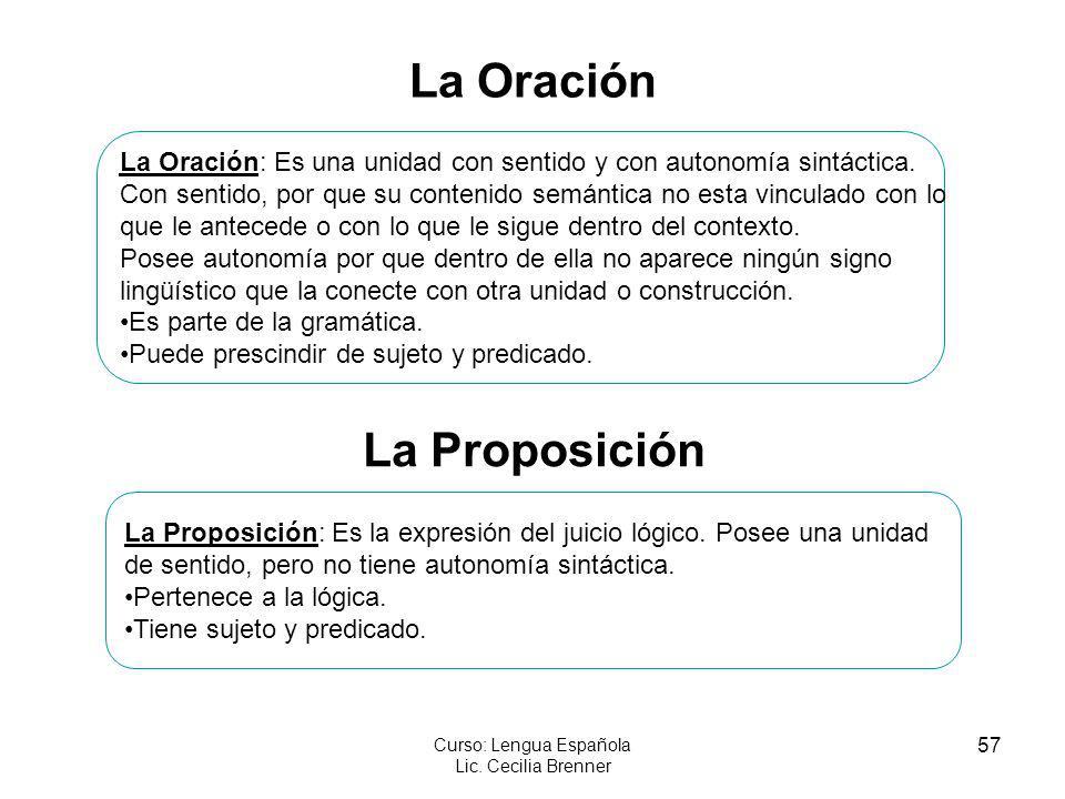 57 Curso: Lengua Española Lic. Cecilia Brenner La Oración La Oración: Es una unidad con sentido y con autonomía sintáctica. Con sentido, por que su co