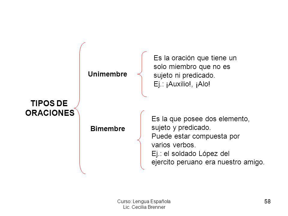 58 Curso: Lengua Española Lic. Cecilia Brenner TIPOS DE ORACIONES Unimembre Bimembre Es la oración que tiene un solo miembro que no es sujeto ni predi