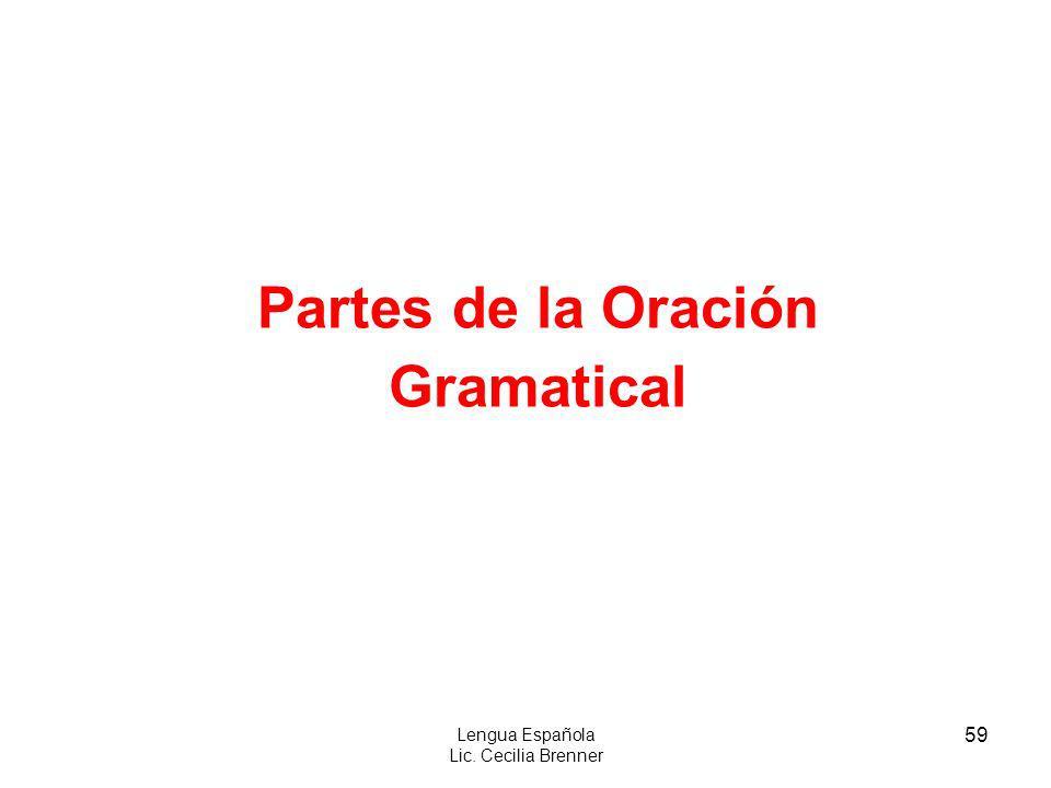 59 Lengua Española Lic. Cecilia Brenner Partes de la Oración Gramatical