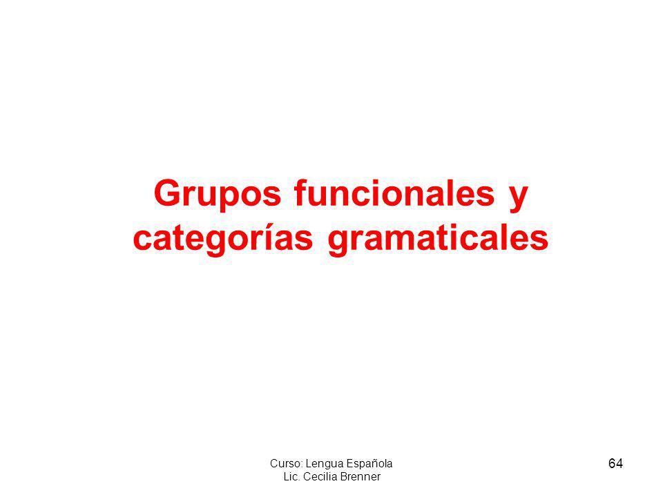 64 Curso: Lengua Española Lic. Cecilia Brenner Grupos funcionales y categorías gramaticales
