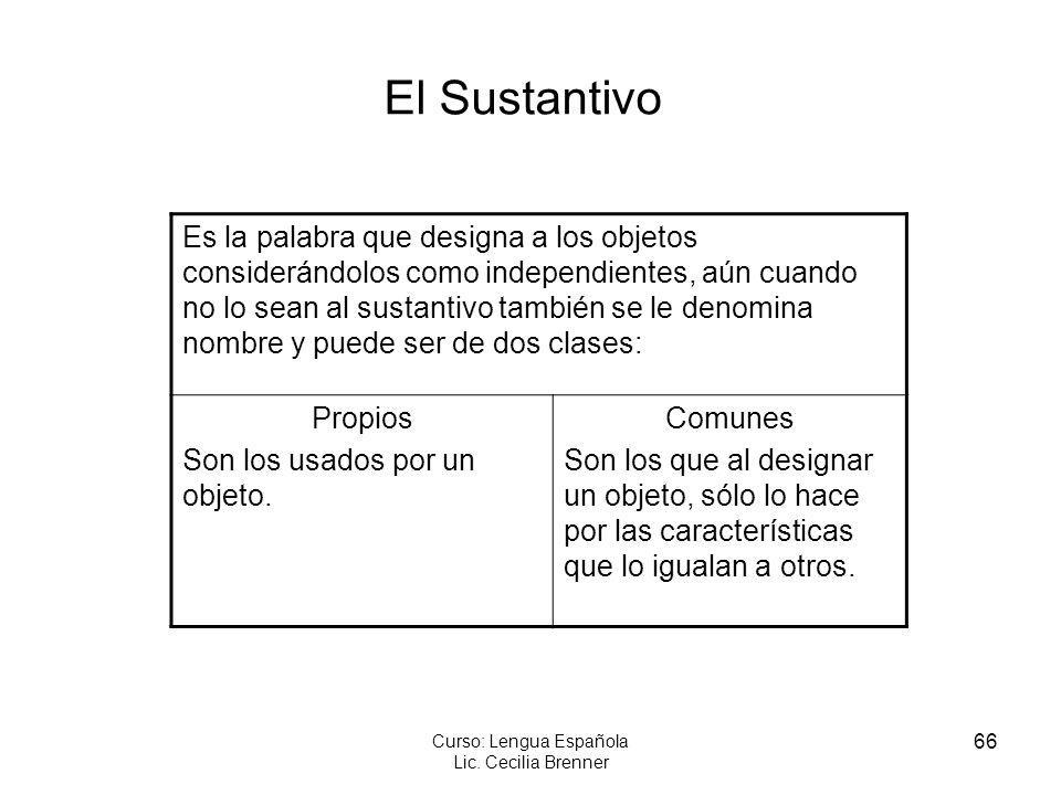 66 Curso: Lengua Española Lic. Cecilia Brenner El Sustantivo Es la palabra que designa a los objetos considerándolos como independientes, aún cuando n