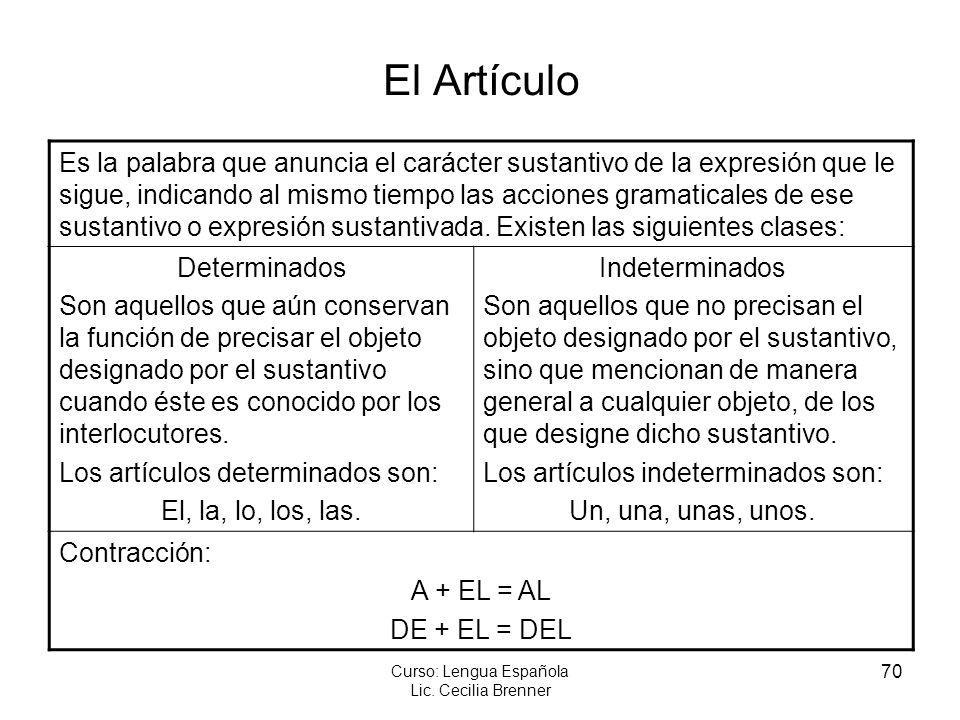 70 Curso: Lengua Española Lic. Cecilia Brenner El Artículo Es la palabra que anuncia el carácter sustantivo de la expresión que le sigue, indicando al