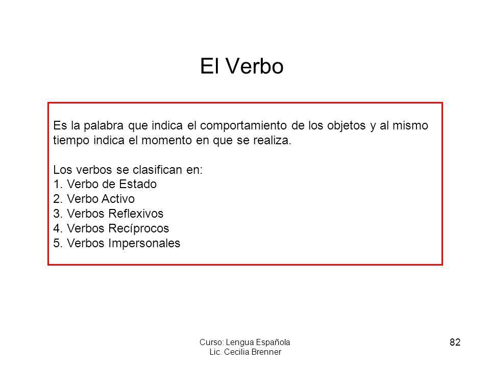 82 Curso: Lengua Española Lic. Cecilia Brenner El Verbo Es la palabra que indica el comportamiento de los objetos y al mismo tiempo indica el momento