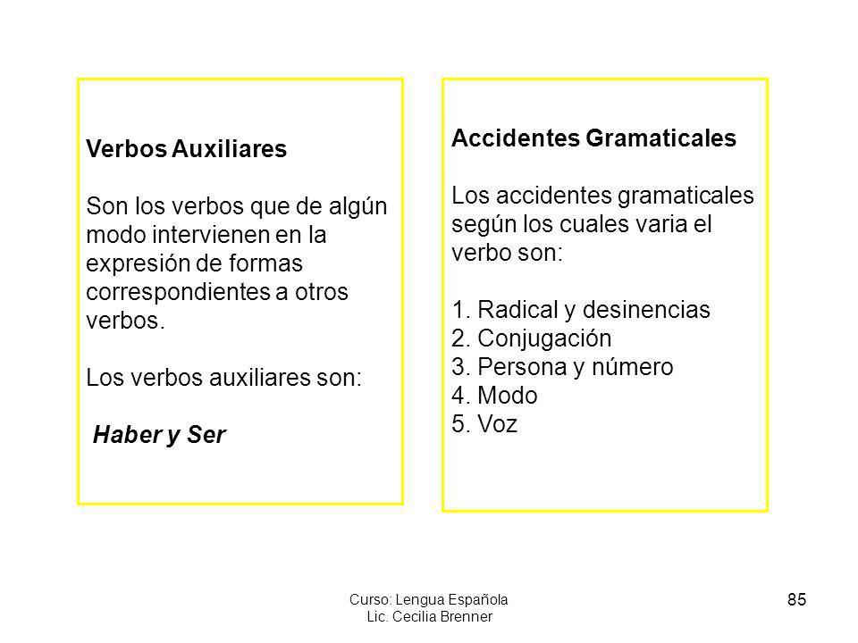 85 Curso: Lengua Española Lic. Cecilia Brenner Verbos Auxiliares Son los verbos que de algún modo intervienen en la expresión de formas correspondient