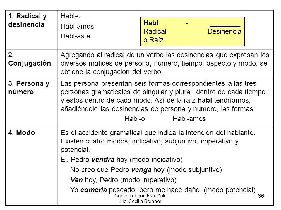 86 Curso: Lengua Española Lic. Cecilia Brenner 1. Radical y desinencia Habl-o Habl-amos Habl-aste 2. Conjugación Agregando al radical de un verbo las
