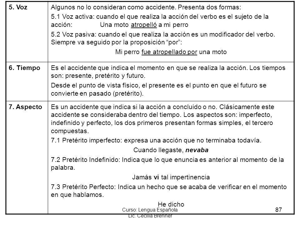 87 Curso: Lengua Española Lic. Cecilia Brenner 5. VozAlgunos no lo consideran como accidente. Presenta dos formas: 5.1 Voz activa: cuando el que reali