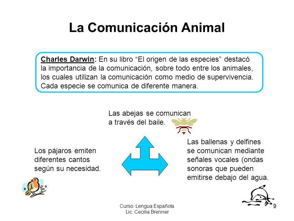 9 Curso: Lengua Española Lic. Cecilia Brenner La Comunicación Animal Charles Darwin: En su libro El origen de las especies destacó la importancia de l