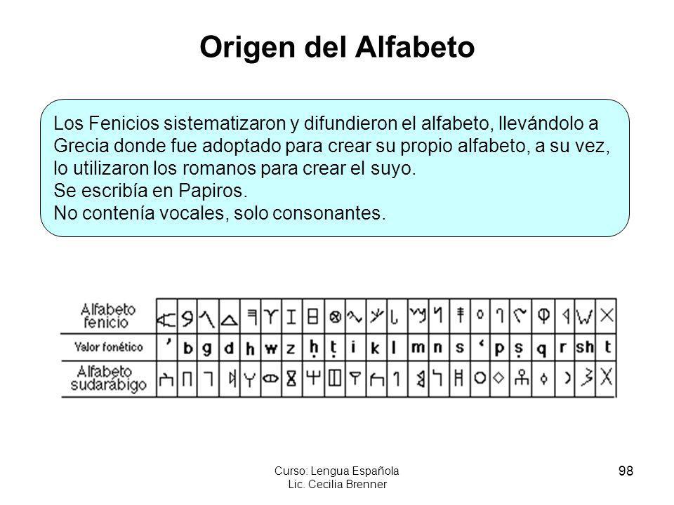 98 Curso: Lengua Española Lic. Cecilia Brenner Origen del Alfabeto Los Fenicios sistematizaron y difundieron el alfabeto, llevándolo a Grecia donde fu