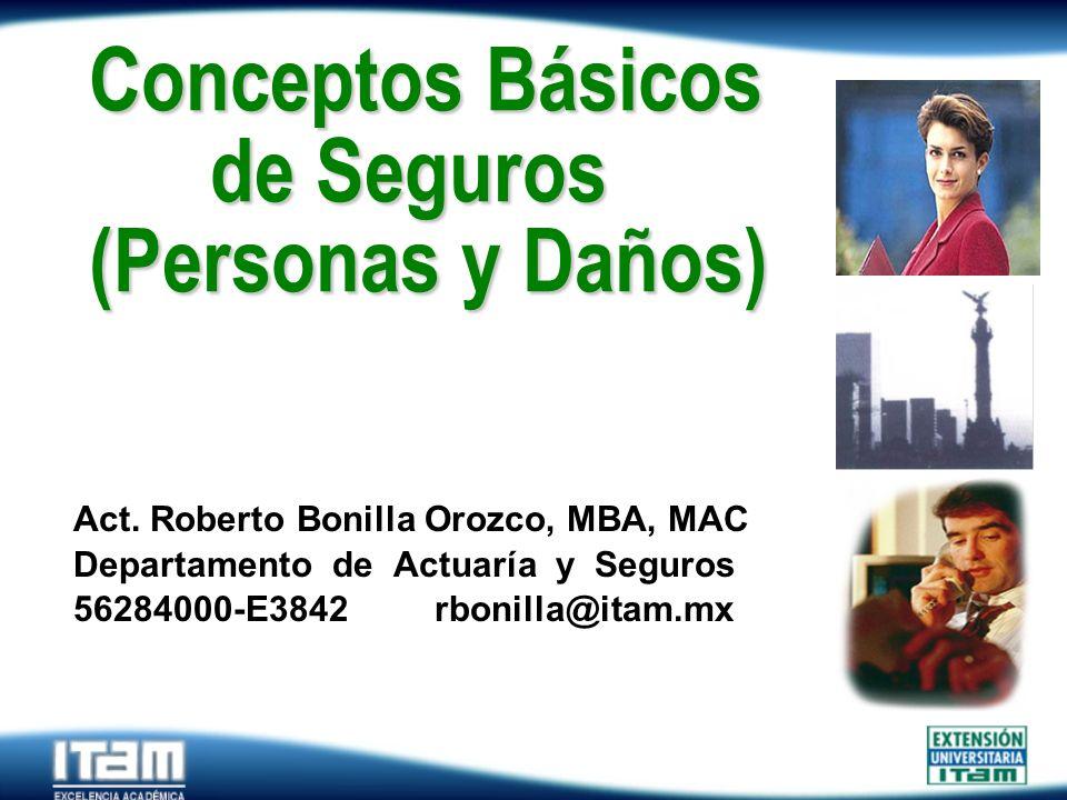 Seguro Personas Conceptos Básicos de Seguros (Personas y Daños) Act. Roberto Bonilla Orozco, MBA, MAC Departamento de Actuaría y Seguros 56284000-E384