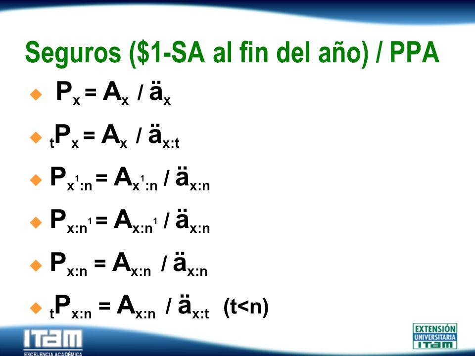 Seguro Personas Seguros ($1-SA al fin del año) / PPA P x = A x / ä x t P x = A x / ä x:t P x 1 :n = A x 1 :n / ä x:n P x:n 1 = A x:n 1 / ä x:n P x:n =