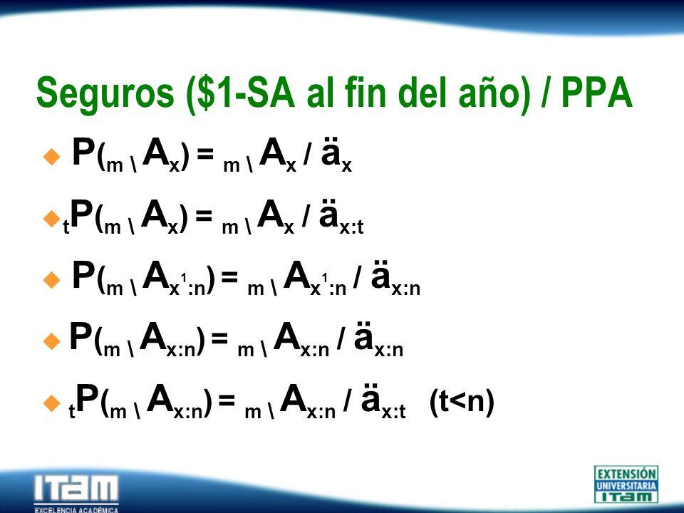 Seguro Personas Seguros ($1-SA al fin del año) / PPA P ( m \ A x ) = m \ A x / ä x t P ( m \ A x ) = m \ A x / ä x:t................. P ( m \ A x 1 :n