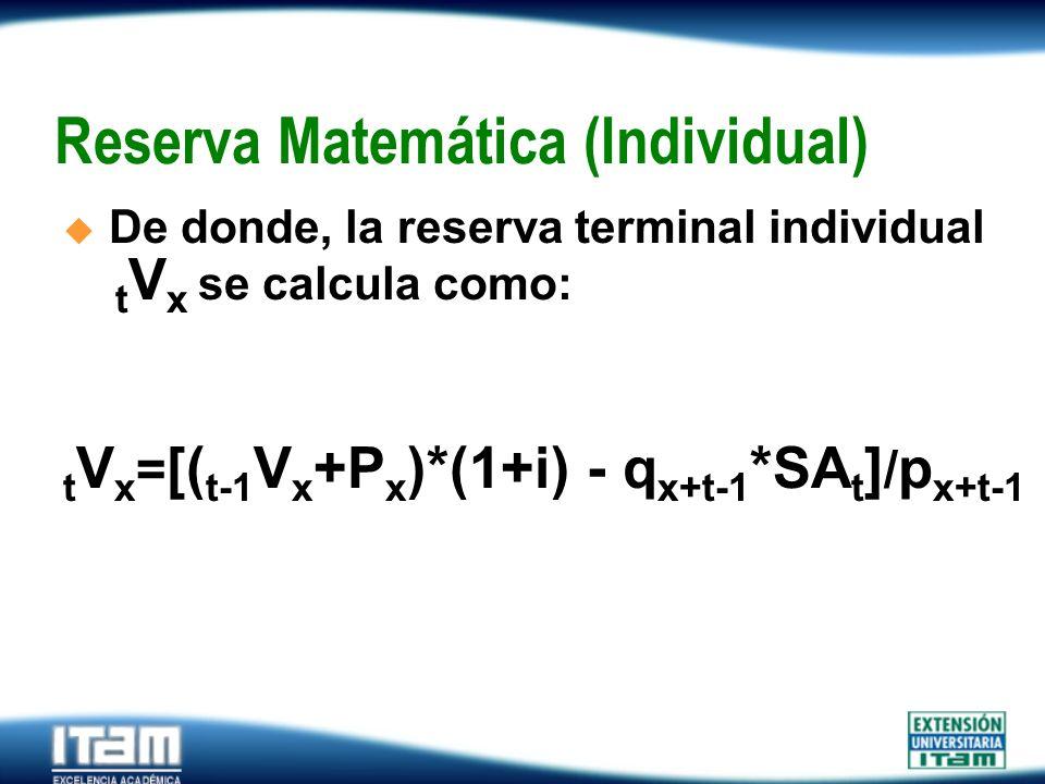 Seguro Personas Reserva Matemática (Individual) De donde, la reserva terminal individual.... t V x se calcula como: t V x = [( t-1 V x +P x )*(1+i) -