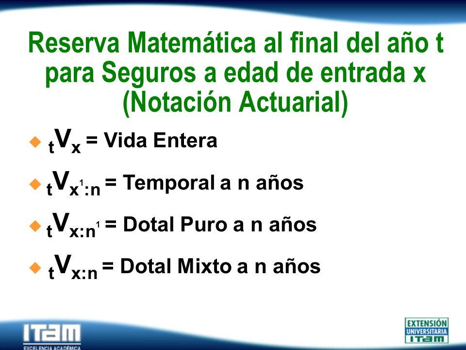 Seguro Personas Reserva Matemática al final del año t para Seguros a edad de entrada x (Notación Actuarial). t V x = Vida Entera t V x 1 :n = Temporal